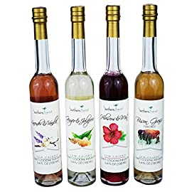 Southern Twist Craft Cocktail Infusions Sampler Gift Set 4-count (3.4 oz) glass bottles (Ginger & Jalapeño, Bison Grass, Lavender & Vanilla, Lemongrass & Basil) Cocktail Mixes 24 All-Natural Non-Alcoholic Able to be mixed with liquor, wine, beer or sodas to create unique cocktails or mocktails