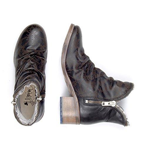 Felmini - Damen Schuhe - Verlieben Eraldo P848 - Cowboy & Biker Stiefelette - Echtes Leder - Schwarz