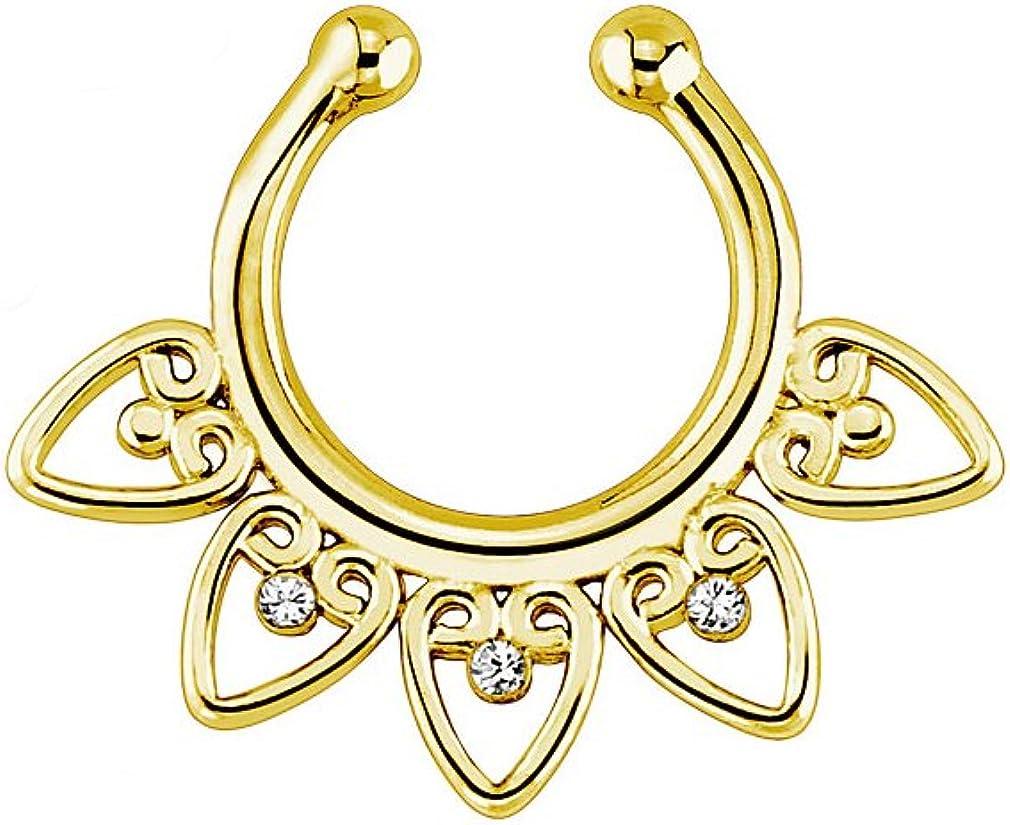 "Gold Ion Plated Tribal Fan /""Non Piercing/"" Septum Hanger"