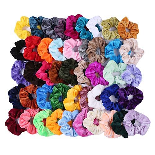 LiboboLibobo46 Pcs Hair Scrunchies Velvet Elastic Hair Bands Hair Ties Ropes Scrunchy for Women or Girls