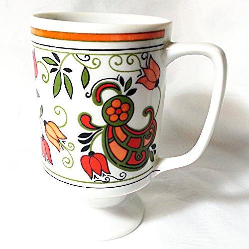 (Floral Retro Mod Pedestal Mug Coffee)