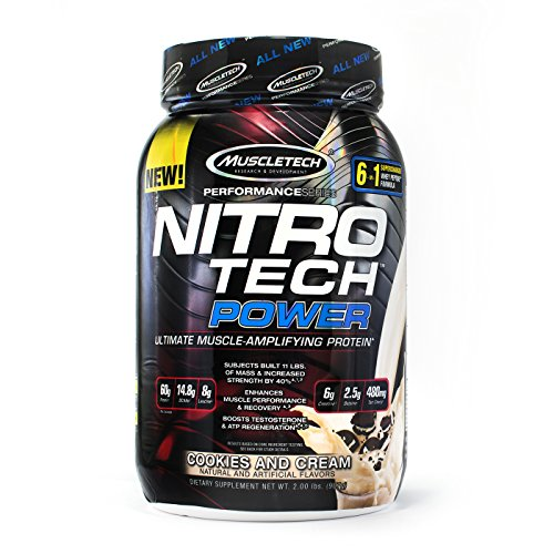 MuscleTech Nitro Tech Power Whey Protein Powder Musclebuilding Formula, Cookies and Cream, 2 - Cookies Tech Nitro