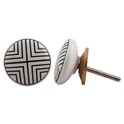 Indianshelf Handmade Ceramic Black Stripe Flat Drawer/Door/Dresser Knobs/Pulls -2 Piece (CK-1199)
