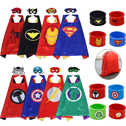 Kids Cartoon Dress Up Costumes Satin 8pcs Characters Superhero Capes with Felt Masks and Slap -