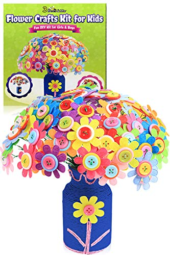 3 Bees & Me Flower Crafts Kit for Kids Age 5 to 12 - Fun DIY Craft Kit for Girls & Boys