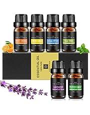 Etherische oliën set, Aiemok 6 x 10 ml etherische oliën cadeauset 100% pure therapeutische kwaliteit geurolie Aromatherapie oliën Cadeauset voor massage Spa diffusers en haarverzorging