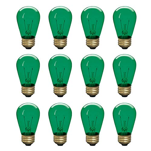Incandescent S14 Edison Light Bulb, String Light Replacement, E26 Medium Base, 130V, Green (12 Pack)