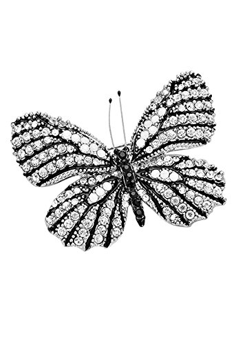 Rosemarie Collections Women's Dazzling Crystal Butterfly Brooch Pin (Silver Tone Black) (Silver Tone Butterfly Brooch Pin)