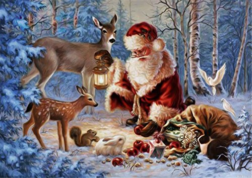 (YEESAM Art New 5D Diamond Painting Kit - Santa Claus and Animals - DIY Crystals Diamond Rhinestone Painting Pasted Paint by Number Kits Cross Stitch Embroidery)