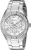 GUESS Women's U0729L1 Sporty Silver-Tone Stainless Steel Watch with Multi-function Dial and Pilot Buckle