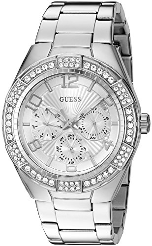 GUESS Women's U0729L1 Sporty Silver-Tone Stainless Steel Watch with Multi-function Dial and Pilot Buckle - Silver Tone Buckle