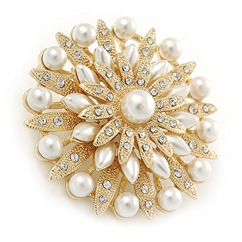 Avalaya Bridal Vintage Inspired White Simulated Pearl, Austrian Crystal Layered Floral Brooch In Silver Tone - 50mm D