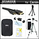 Starter Accessories Kit For The Canon PowerShot SX260 HS, SX280 HS, SX280HS, S120 Digital Camera Includes Deluxe Carrying Case + 50 Tripod With Case + Mini HDMI Cable + USB 2.0 Card Reader + LCD Screen Protectors + Mini TableTop Tripod + MicroFiber Cloth