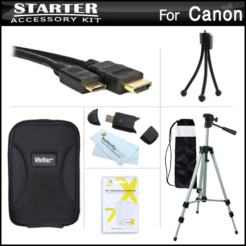 Starter Accessories Kit For The Canon PowerShot SX260 HS, SX280 HS, SX280HS, S120 Digital Camera Includes Deluxe Carrying Case + 50 Tripod With Case + Mini HDMI Cable + USB 2.0 Card Reader + LCD Screen Protectors + Mini TableTop Tripod + MicroFiber Cloth by ButterflyPhoto