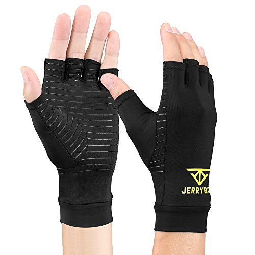 loves Fingerless Copper Gloves Compression Medical Support Gloves (M) (Wrist Gloves)