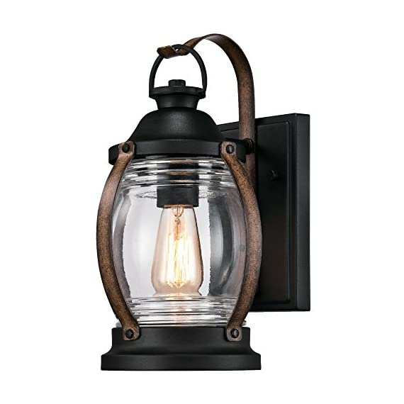 Westinghouse Lighting 6335100 Canyon One-Light Outdoor Wall Fixture, Textured Black and Barnwood Finish with Clear Glass - One-light fixture is perfect for use in front or back entryways or on a porch Outdoor rated fixture, textured black and barnwood finish with clear hand blown glass shade Use one 60 watt maximum medium-base light bulb - patio, outdoor-lights, outdoor-decor - 51Hpttm DqL. SS570  -