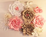 Set of 5 Giant Paper flower backdrop, flower backdrop,Giant paper flower wedding backdrop,Nursery room decor,giant flower pink and cream,giant rose
