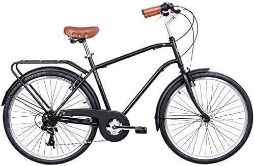 Gama Bikes Men's City 6 Speed Shimano Hybrid Urban Commuter Road Bicycle, 26-inch wheels