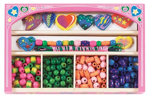 (Melissa & Doug Sweet Hearts Wooden Bead Set With 120+ Beads for Jewelry-Making)