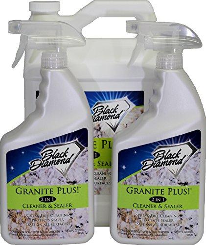 GRANITE PLUS! 2 in 1 Cleaner & Sealer for Granite, Marble, Travertine, Limestone, Ready to Use! 2-Quarts and 1 Gallon Refill.