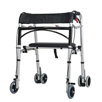 TRELLA Andador de 4 Ruedas Plegable y Altura Ajustable con Asiento para Asistencia de Movilidad para Adultos, Ancianos y Discapacitados, Ligero: Amazon.es: ...