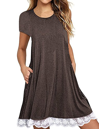 Brown Jeans Dress Summer - Women's Plain Scoop Neck Draped Pockets Dress Lace Hem Short Sleeve Dress Coffee,L