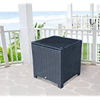 Outsunny Rattan Wicker Side Coffee Table with Glass Top Outdoor Patio Furniture Black