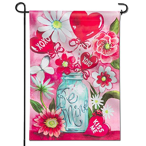 Anley  Double Sided  Premium Garden Flag, Be Mine Kiss Me Jar Valentine's Day Bouquet Decorative Garden Flags - Weather Resistant & Double Stitched - 18 x 12.5 Inch