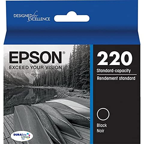 Genuine OEM Black Ultra Ink Cartridge Epson 220 WorkForce DuraBrite WF-2630WF WF-2650 WF-2660 - T220120 - Yield 175 (Epson Printer Workforce 2650)