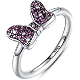 Anillos de Plata 925 Sparkling-Bow-Ring-with-Purple-and-