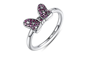 Dixey Luxury Anillos de Plata 925 Sparkling-Bow-Ring-with-Purple-