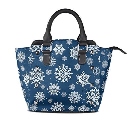Use4 White Snowflake Merry Christmas Rivet PU Leather Tote Bag Purse