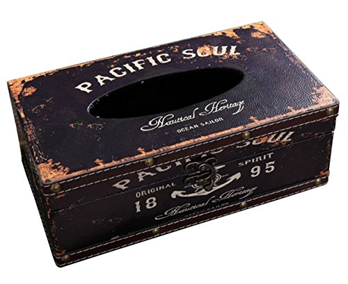 Lalago Wooden Retro Tissue Box Holder Tissue Box Cover Case Napkin Dispenser (Pacific Soul)