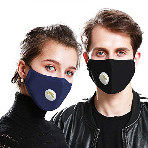 BeGrit Anti-Pollution Mask Washable Cotton Respirator with Valve & N99 Filters (2Pcs) Adjustable Ear Strap for PM 2.5 Haze Dust...