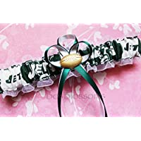 Customizable - New York NY Jets print fabric handmade into bridal prom white organza wedding garter set with football charm