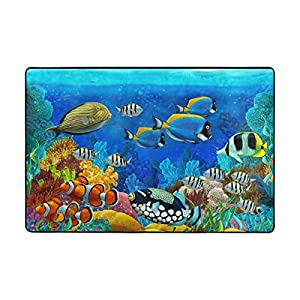 My Little Nest Colorful Underwater World Coral Reef and Fishes Kids Play Mat Baby Crawling Mat Carpet Non Slip Soft Educational Game Rug for Nursery Bedroom Classroom 4′ x 6′