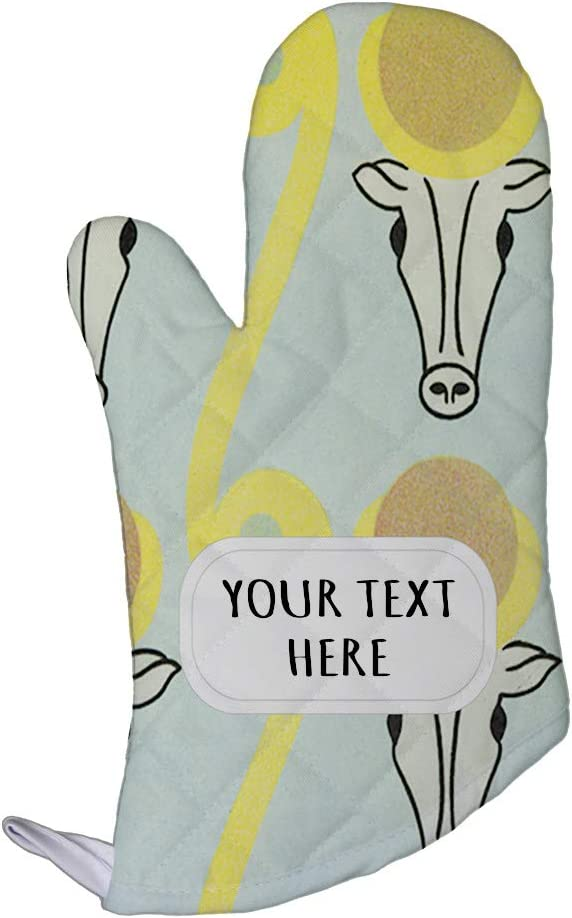 Style In Print Polyester Oven Mitt Custom Egyptian Design 14 Pattern Light-Blue Brown Adults Kitchen Mittens