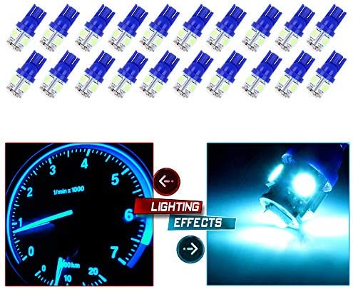 cciyu 20個パック アイスブルー T10 W5W ウェッジ 168 194 LED電球交換品 2013 2014 2015 Infiniti JX35 (QX60) ドームライトマップライトステップ/コートシー/ドアライト用