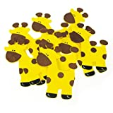 Homeford FCFE12563WP6 Giraffe Animal Wooden Baby Favors (10 Pack), 5'', Yellow