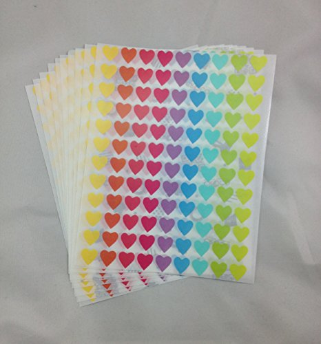 (Cypress Shop Mixed 9 Pastel Colour Heart Shaped (12 x 12 mm) Label Stickers 1080 Pcs for Multipurposes DIY)