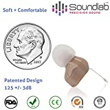 Soundlab Hearing Amplifier – Super Mini, in-the-Canal (ITC), Wireless Earbud with Soft Gel Tip and Long-Life Hearing Aid Batteries, Invisible, Crystal Clear Sound, Soft and Comfortable.