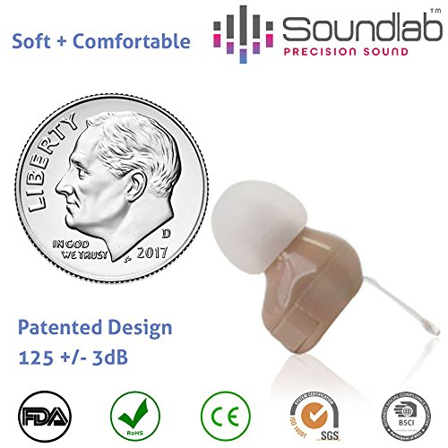 Soundlab Hearing Amplifier – Super Mini, in-the-Canal (ITC), Wireless Earbud with Soft Gel Tip and Long-Life Hearing Aid Batteries, Invisible, Crystal Clear Sound, Soft and Comfortable. (Gel Mini Ear)