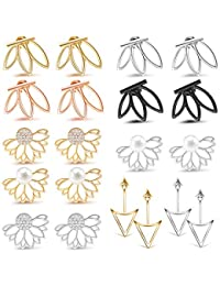 10-12 Pairs Ear Jacket Stud Lotus Flower Earrings for Women and Girls Set for Sansitive Ears Simple Chic Jewelry