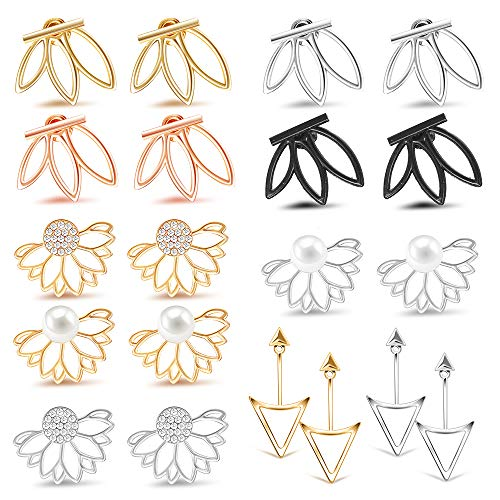 10 Pairs Ear Jacket Stud Lotus Flower Earrings for Women and Girls Set for Sansitive Ears Simple Chic Jewelry ()