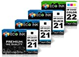 ECO INK © Compatible / Remanufactured for HP 21 HP 22 C9351AN C9352AN (3 Blk+ 1 Clr) Ink Cartridges for HP Deskjet 3910, 3915, 3920, 3930, 3930v, 3940, 3940v, D1330, D1360, D1420, D1430, D1445, D1455, D2320, D2330, D2345, D2360, D2430, D2445, D2460, F2110, F2120, F2128, F2140, F2180, F2187, F2188, F300, F310, F325, F335, F340, F350, F370, F380, F385, F390, F4135, F4140, F4150, F4172, F4180, F4185, HP OfficeJet 4315, 4315v, 4315xi, HP PSC 1401, 1402, 1403, 1406, 1408, 1410, 1410v, 1410xi, 1417, HP FAX 1250