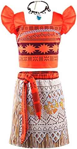 JerrisApparel Princess Moana Costume Two-Piece Skirt Set Dress up for Girls
