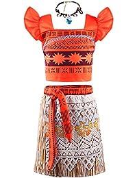 Princess Moana Costume Two-Piece Skirt Set Dress up for Girls