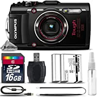 Olympus Stylus TOUGH TG-4 Digital Camera (Black) + 16GB CLASS 10 MEMORY CARD + Replacement Battery for Olympus LI-92B + Card Reader + Tripod + Cleaning Kit - International Version