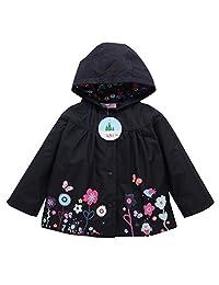LZH Baby Girls Flower Waterproof Children's Outwear Raincoat Jacket