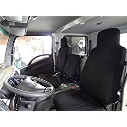 Durafit Seat Covers- 2006-2017 Isuzu NPR Front 40/60 Split Bench Seat. Driver Side Bucket, Passenger Side Bench, Custom Exact Fit Work Seat Covers, Charcoal Leatherette.